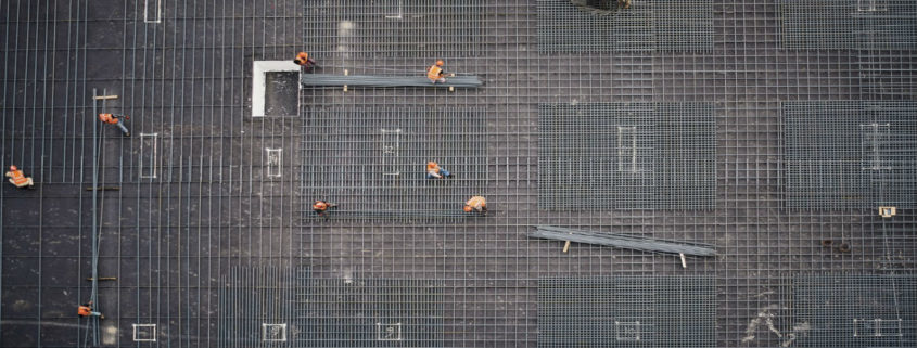 Areial view of workers on a construction site